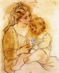 mother and child ii by pablo picasso painting