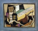 pablo picasso partition bottle of port guitar playing cards painting