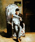 artist s father reading ii by paul cezanne painting