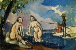 bathers and fisherman with a line by paul cezanne painting