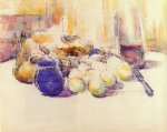 blue pot and bottle of wine by paul cezanne painting
