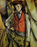 boy in a red vest ii by paul cezanne painting
