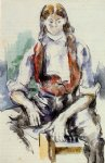 boy in a red vest iii by paul cezanne painting