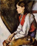 boy in a red vest v by paul cezanne painting