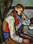 boy in a red vest by paul cezanne painting