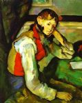 boy in a red waistcoat by paul cezanne painting