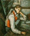 boy in a red waistcoat leaning on his elbow by paul cezanne painting