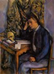 boy with skull by paul cezanne painting