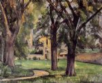 chestnut tree and farm at jas de bouffan by paul cezanne painting