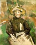child with straw hat by paul cezanne painting