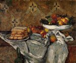 compotier and plate of biscuits by paul cezanne painting