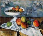 compotier glass and apples by paul cezanne painting