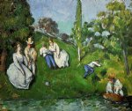 paul cezanne couples relaxing by a pond art