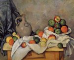 paul cezanne curtain jug and fruit painting