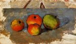 four apples by paul cezanne painting