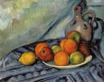 fruit and jug on a table by paul cezanne painting