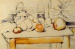 ginger jar and fruit on a table by paul cezanne painting