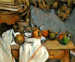 ginger pot with pomegranate and pears by paul cezanne painting