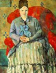 hortense fiquet in a striped skirt by paul cezanne painting