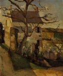 house and tree the hermitage pontoise by paul cezanne painting