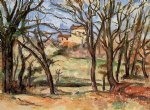 house behind trees on the road to tholonet by paul cezanne painting