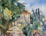 house with red roof by paul cezanne painting