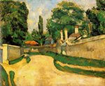 houses along a road by paul cezanne painting