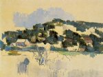 houses on the hill by paul cezanne painting