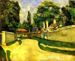houses on the roadside by paul cezanne painting