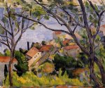 l estaque view through the trees by paul cezanne painting