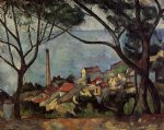 landscape with mill by paul cezanne painting