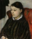 madame cezanne in a striped robe by paul cezanne painting
