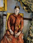 madame cezanne in a yellow chair ii by paul cezanne painting