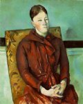 madame cezanne in a yellow chair iii by paul cezanne painting