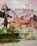 medan chateau and village by paul cezanne painting
