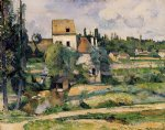 mill on the couleuvre at pontoise by paul cezanne painting
