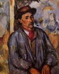 peasant in a blue smock by paul cezanne painting