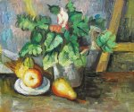plate with fruit and earthenware by paul cezanne painting