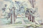 pool and lane of chestnut trees at jas de bouffan by paul cezanne painting