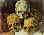 pyramid of skulls by paul cezanne painting