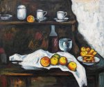 receptacles fruit and biscuits on a sideboard by paul cezanne painting