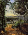 road trees and lake by paul cezanne painting