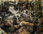 rocks at fountainebleau by paul cezanne painting