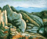 paul cezanne rocks near l estaque painting