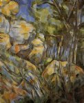 rocks near the caves above the chateau noir by paul cezanne painting