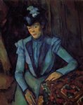 seated woman in blue by paul cezanne painting
