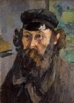 self portrait in a casquette by paul cezanne painting