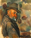portrait paintings - self portrait in a felt hat by paul cezanne
