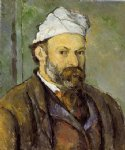 self portrait in a white cap by paul cezanne painting