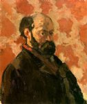 self portrait with a rose background by paul cezanne painting